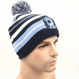 aca160c0fc4 Acrylic knitted double layer Beanie hat with ball crown Logo Embroidered