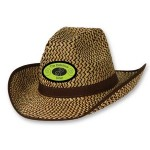 2-Tone Western Hat w/ Brown Trim & Band w/ Custom Shaped Faux Leather Icon Branded