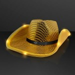 Branded Shiny Gold Cowboy Hat with Light Brim