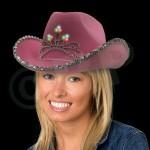 Pink LED Cowboy Hat Logo Printed