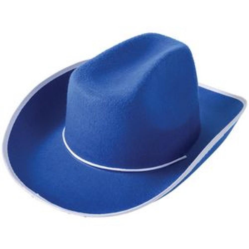 Blue Cowboy Hat Logo Printed