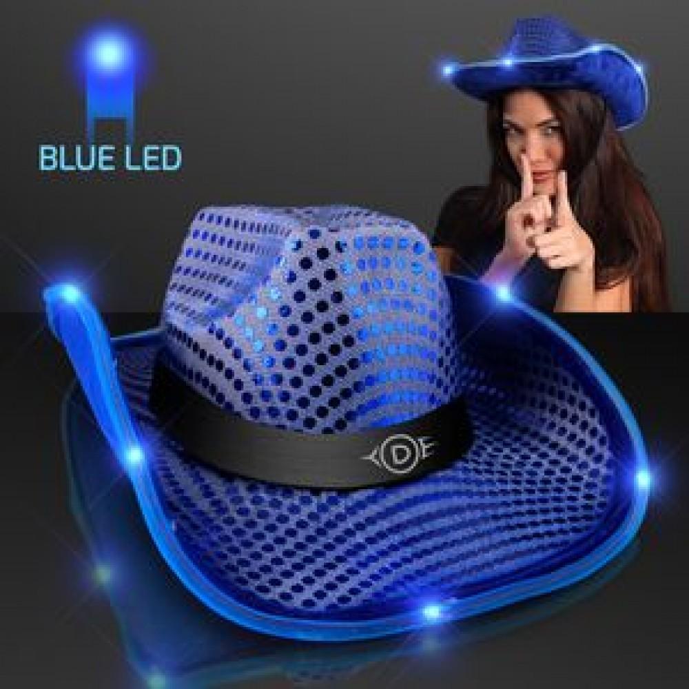 e0be416e Blue Cowboy Hat w/Blue Lights Brim Logo Printed - Bravamarketing.com ...
