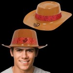 Logo Printed Brown Plastic Cowboy Hat with Red Paisley Band