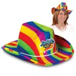 Custom Imprinted Rainbow Cowboy Hat w/ Custom Printed Faux Leather Icon