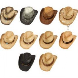 bcb647ec5db7d 10pc Shapeable Assorted Western Cowboy Straw Hat Set Logo Printed