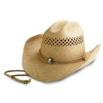 Raffia Straw Cowboy Hat w/ Outback Shape & Chin Cord Custom Imprinted
