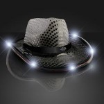 Promotional Black Sequin Cowboy Hat w/White LED Brim