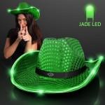 Promotional Green Sequin Cowboy Hat w/Jade LED Brim