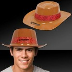 Custom Brown Plastic Cowboy Hat with Red Paisley Band