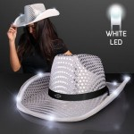 Customized Silver Sequin Cowboy Hat w/White LED Brim