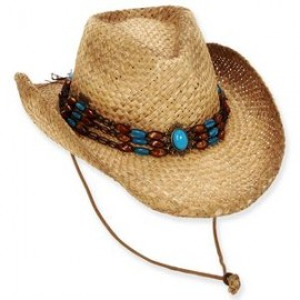 Sun 'N' Sand AOI Wheatstraw Western Hat w/Turq Concho Beaded Trim - Wyatt Branded