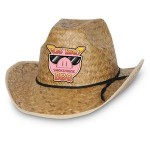 Hi-Crown Western Hat w/ Shoelace Band w/ Custom Shaped Faux Leather Icon Logo Printed