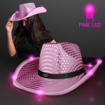 Personalized Pink Sequin Cowboy Hats w/Pink LED Brim