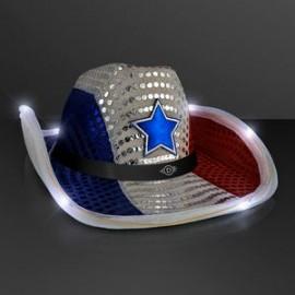 Branded Red White & Blue LED Cowboy Hat