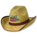 Logo Printed Genuine Cowboy Hat w/Brown Trim & Band w/A Custom Printed Faux Leather Icon