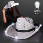 Custom Silver Sequin Cowboy Hat w/White LED Brim