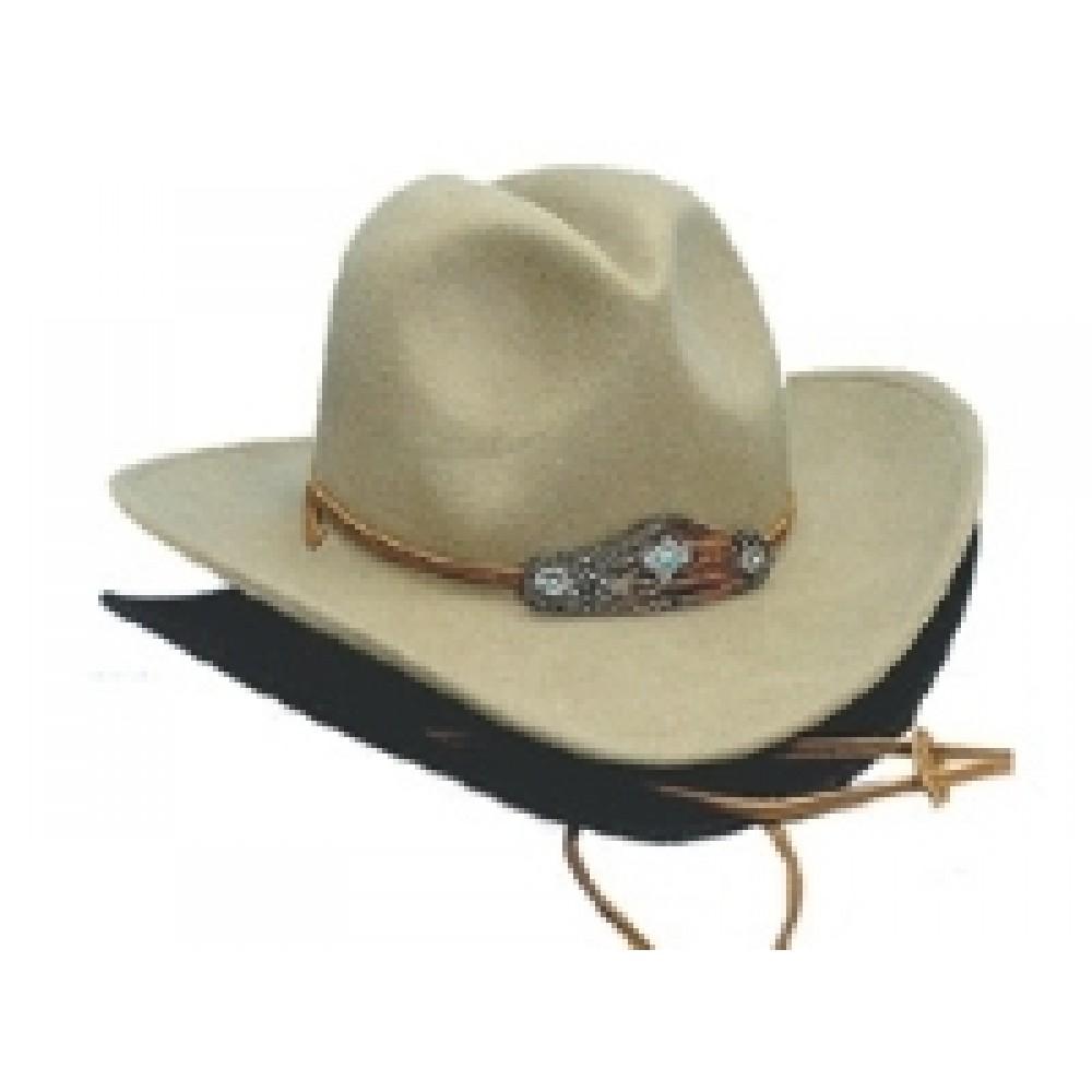 Wool Felt Crushable Western Hat w/Chin Strap Custom Imprinted