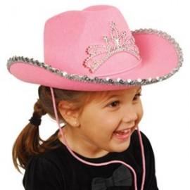 Logo Printed Pink Cowboy Hat w/ Tiara