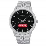 Seiko Special Value Black Dial Bracelet Watch Logo Printed
