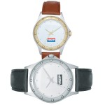Logo Printed Executive Collection Watch w/Dots Marking Hours on Bezel
