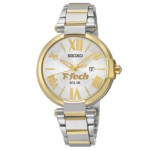 Branded Women's Seiko Solar Series Watch (Silver/Gold Dial)
