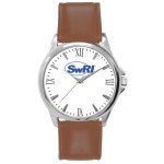 Branded Pedre Men's Clarity Silver-Tone Watch with Brown Strap