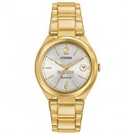 Custom Imprinted Women's Citizen Eco-Drive Gold Watch (Silver Tone Dial)