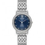 Women's Citizen Eco-Drive Dress Watch (Blue Dial) Logo Printed