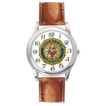 Men's Brown Leather Strap Watch Custom Imprinted
