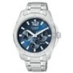 Logo Printed Citizen Men's Blue Dial Silver-Tone Bracelet Watch