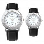 Custom Imprinted Leather Band Watch with Roman Numeral Case / Bezel