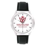 Custom Imprinted Unisex Black Leather Band Watch