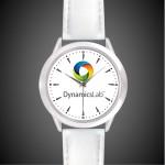 Logo Printed Unisex White Leather Band Watch