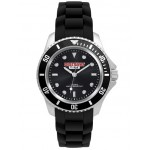 Pedre Unisex Sport watch with black dial and black silicon strap Branded