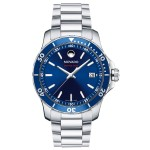 Logo Printed Movado Series 800 Men's Stainless Steel Bracelet Sport Watch W/ Blue Dial from Pedre