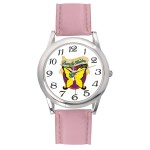 Men's Pink Leather Strap Watch Custom Imprinted