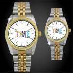 His or Hers 2 Tone Metal Band Watch with Crystal Dial Branded
