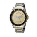 Selco Geneve Men's Canvas Medallion Silver/Gold Watch Logo Printed
