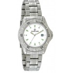 Custom Imprinted Men's Royale Steel Bracelet Watch W/ White Dial