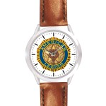 Custom Imprinted Unisex Brown Leather Band Watch
