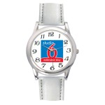 Men's White Leather Strap Watch Logo Printed