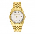 Men's Pedre 5th Avenue Gold-Tone Watch with White Dial Logo Printed