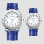 Logo Printed Leather Band Watch with Roman Numeral Case / Bezel