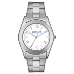 Logo Printed Men's Pedre Warwick Stainless Steel Bracelet Watch W/ White Dial