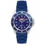 Logo Printed Pedre Unisex Sport watch with blue dial and blue silicon strap