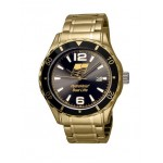 Logo Printed Selco Geneve Canvas Men's Gold Watch