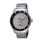 Selco Geneve Men's Canvas Medallion Silver Watch Logo Printed
