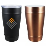 16 oz Stainless Vacuum Double Wall CeramiSteel Beer Tumbler with Drink Through Lid (Screen Printed) Custom Imprinted