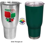 32 oz Vacuum Double Wall Tumbler with Drink Through Lid (Screen Printed) Custom Branded