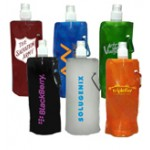 Plastic foldable water bottle with sip thru lid, 22 oz Logo Printed